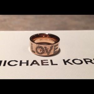 Michael Kors Rose Gold Crystal LOVE Ring Size 6